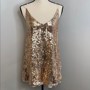 Free People cross strap rose gold sequin dress - S